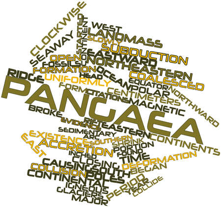 accretion: Abstract word cloud for Pangaea with related tags and terms Stock Photo