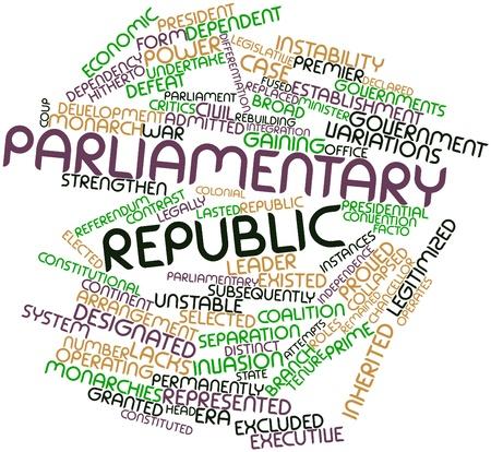 instances: Word cloud astratto per Repubblica parlamentare con tag correlati e termini