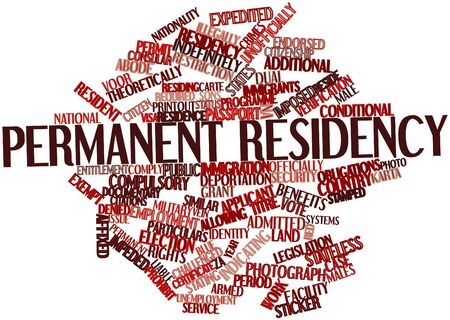 imposed: Abstract word cloud for Permanent residency with related tags and terms Stock Photo