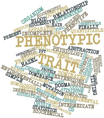 trait: Abstract word cloud for Phenotypic trait with related tags and terms Stock Photo