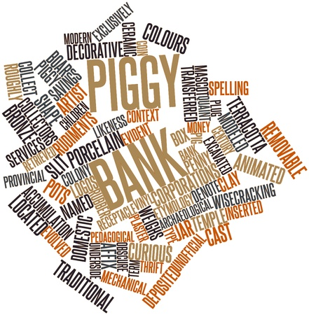 thrift: Abstract word cloud for Piggy bank with related tags and terms Stock Photo