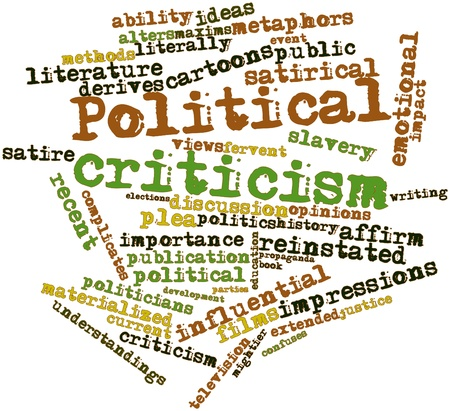 lacks: Abstract word cloud for Political criticism with related tags and terms