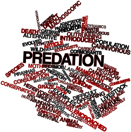 omnivorous: Abstract word cloud for Predation with related tags and terms Stock Photo