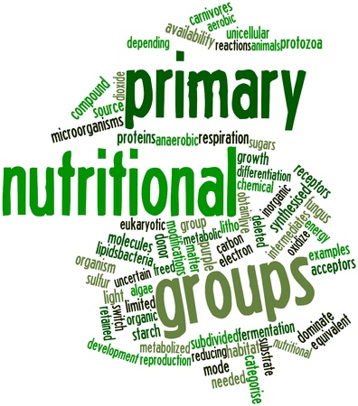 freed: Abstract word cloud for Primary nutritional groups with related tags and terms Stock Photo