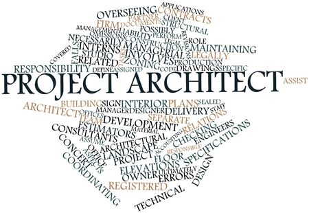 assume: Abstract word cloud for Project architect with related tags and terms