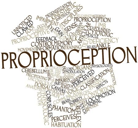 Abstract woordwolk voor Proprioceptie met gerelateerde tags en voorwaarden