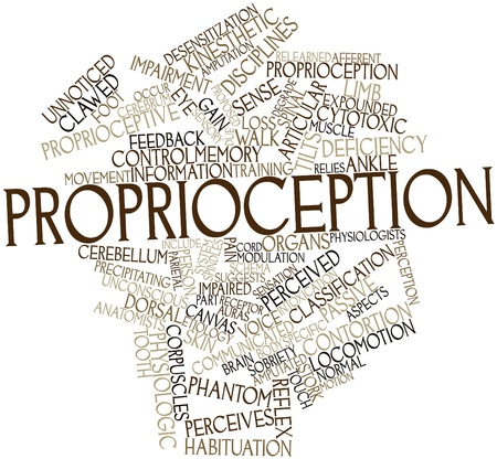 deficiency: Abstract word cloud for Proprioception with related tags and terms Stock Photo
