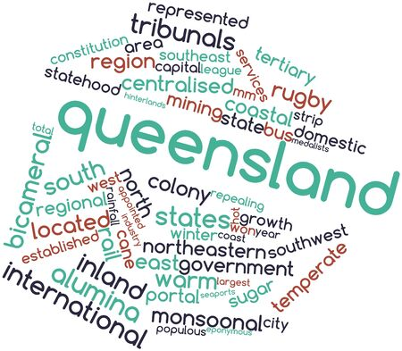 eponymous: Abstract word cloud for Queensland with related tags and terms Stock Photo