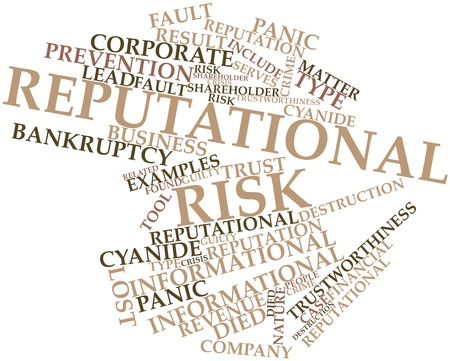 Abstract word cloud for Reputational risk with related tags and terms photo