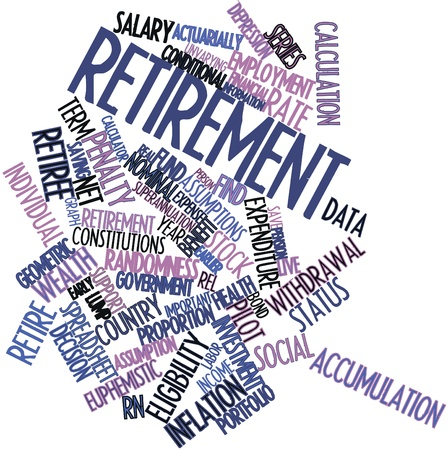 assumptions: Abstract word cloud for Retirement with related tags and terms
