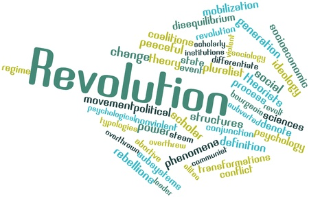 nonviolent: Abstract word cloud for Revolution with related tags and terms