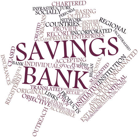 Abstract word cloud for Savings bank with related tags and terms Stock Photo - 17023625