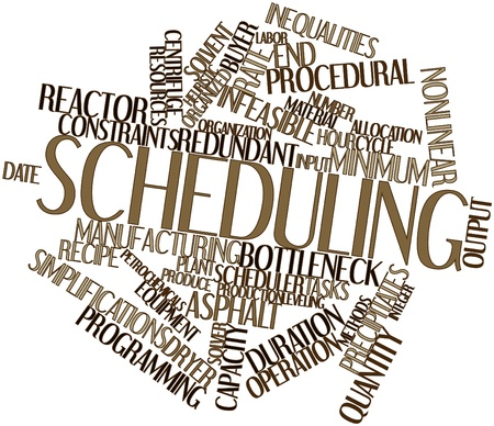 constraints: Abstract word cloud for Scheduling with related tags and terms Stock Photo