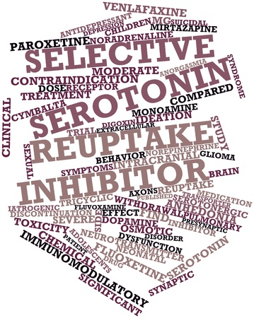 extracellular: Abstract word cloud for Selective serotonin reuptake inhibitor with related tags and terms Stock Photo