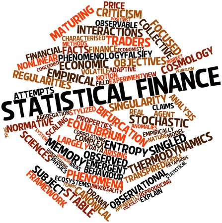 observational: Abstract word cloud for Statistical finance with related tags and terms Stock Photo