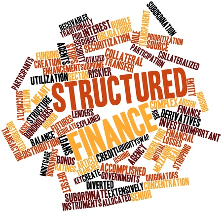 Abstracte woord wolk voor Structured finance met gerelateerde tags en termen Stockfoto