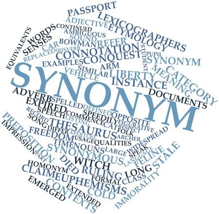 synoniem: Abstract woordwolk voor Synoniem met gerelateerde tags en voorwaarden