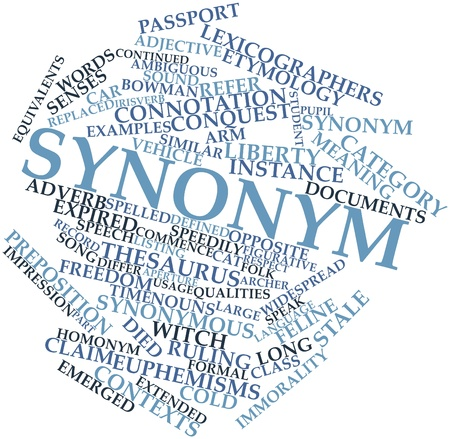 synonymous: Abstract word cloud for Synonym with related tags and terms