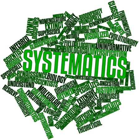 synonymous: Abstract word cloud for Systematics with related tags and terms Stock Photo