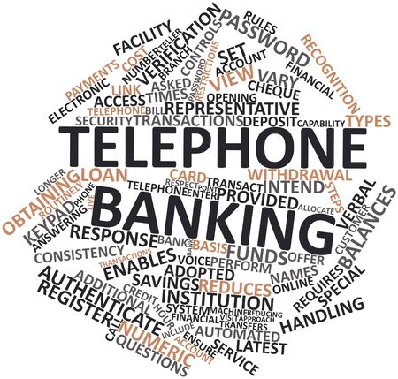 cost basis: Abstract word cloud for Telephone banking with related tags and terms