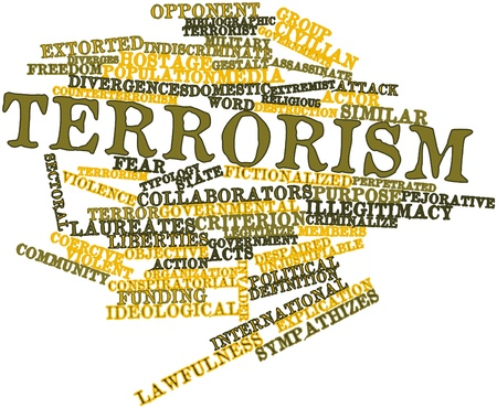 ideological: Abstract word cloud for Terrorism with related tags and terms
