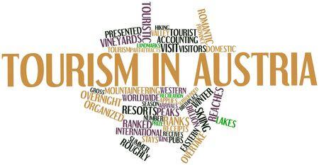 overtake: Abstract word cloud for Tourism in Austria with related tags and terms Stock Photo