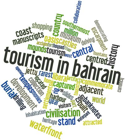 encouraged: Abstract word cloud for Tourism in Bahrain with related tags and terms Stock Photo
