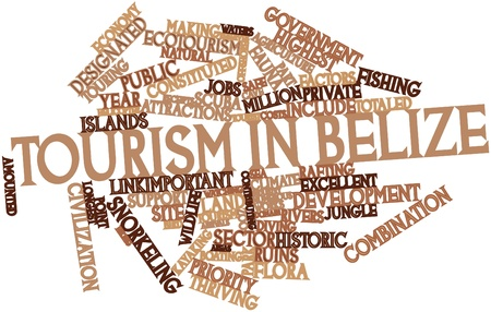 Abstract word cloud for Tourism in Belize with related tags and terms Stock Photo - 17020623