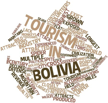 Abstract word cloud for Tourism in Bolivia with related tags and terms Stock Photo - 17024191