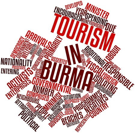 asserted: Abstract word cloud for Tourism in Burma with related tags and terms Stock Photo