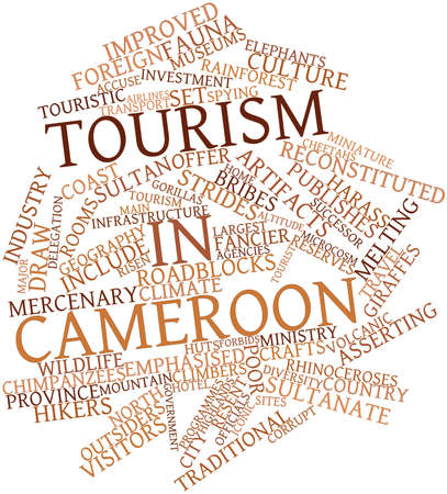 programmes: Abstract word cloud for Tourism in Cameroon with related tags and terms Stock Photo