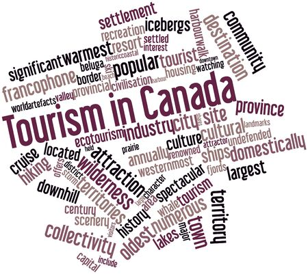 domestically: Abstract word cloud for Tourism in Canada with related tags and terms Stock Photo