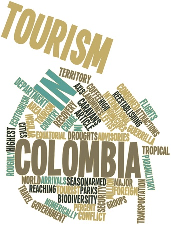 intentional: Abstract word cloud for Tourism in Colombia with related tags and terms Stock Photo