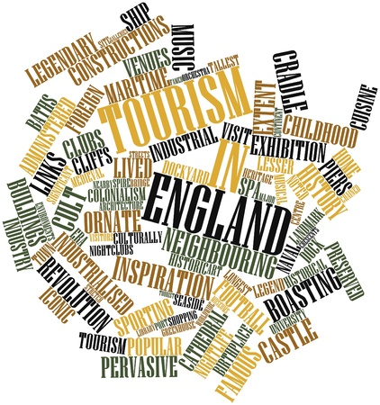 extent: Abstract word cloud for Tourism in England with related tags and terms