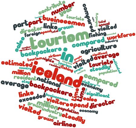 Abstract word cloud for Tourism in Iceland with related tags and terms Stock Photo - 17021591