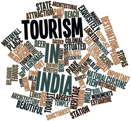 Abstract word cloud for Tourism in India with related tags and terms Stock Photo - 17029663