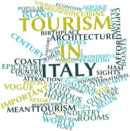 popularity popular: Abstract word cloud for Tourism in Italy with related tags and terms