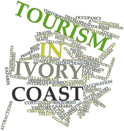 Abstract word cloud for Tourism in Ivory Coast with related tags and terms Stock Photo - 17023721