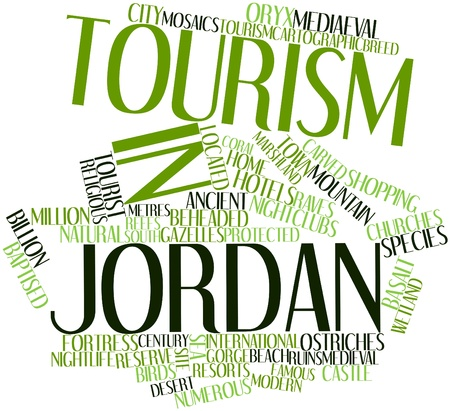 Abstract word cloud for Tourism in Jordan with related tags and terms Stock Photo - 17021307