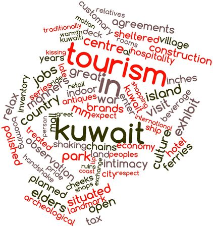 inches: Abstract word cloud for Tourism in Kuwait with related tags and terms Stock Photo