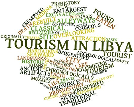 Abstract word cloud for Tourism in Libya with related tags and terms Stock Photo - 17023670