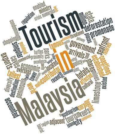 Abstract word cloud for Tourism in Malaysia with related tags and terms Stock Photo - 17024473