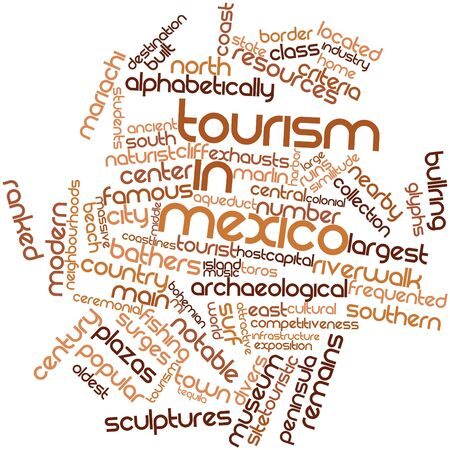 burgeoning: Abstract word cloud for Tourism in Mexico with related tags and terms Stock Photo