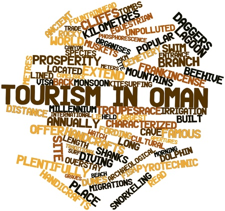 frankincense: Abstract word cloud for Tourism in Oman with related tags and terms Stock Photo