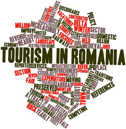 focuses: Abstract word cloud for Tourism in Romania with related tags and terms Stock Photo