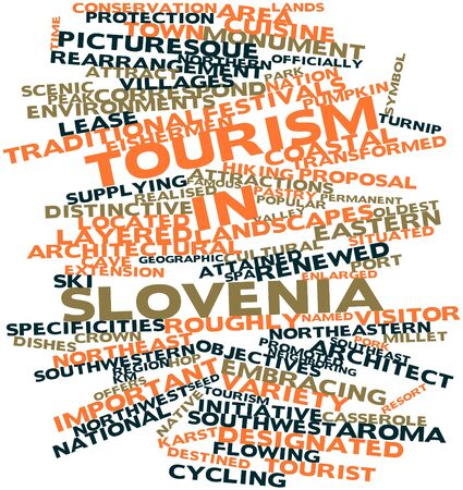 correspond: Abstract word cloud for Tourism in Slovenia with related tags and terms Stock Photo