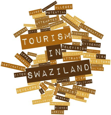 Abstract word cloud for Tourism in Swaziland with related tags and terms Stock Photo - 17021643
