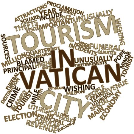 Abstract word cloud for Tourism in Vatican City with related tags and terms Stock Photo - 17029437
