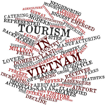 neighboring: Abstract word cloud for Tourism in Vietnam with related tags and terms