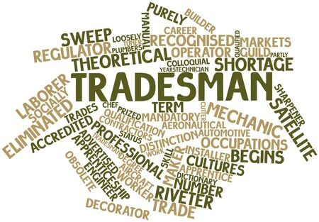 eliminated: Abstract word cloud for Tradesman with related tags and terms Stock Photo
